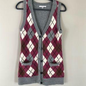 Cabi argyle wool blend sweater vest S